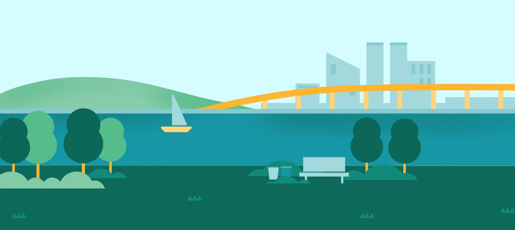 graphic image of the San Francisco Bay and a skyline of buildings