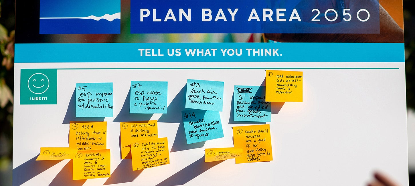 Comments on sticky notes during a Plan bay Area 2050 public engagement event