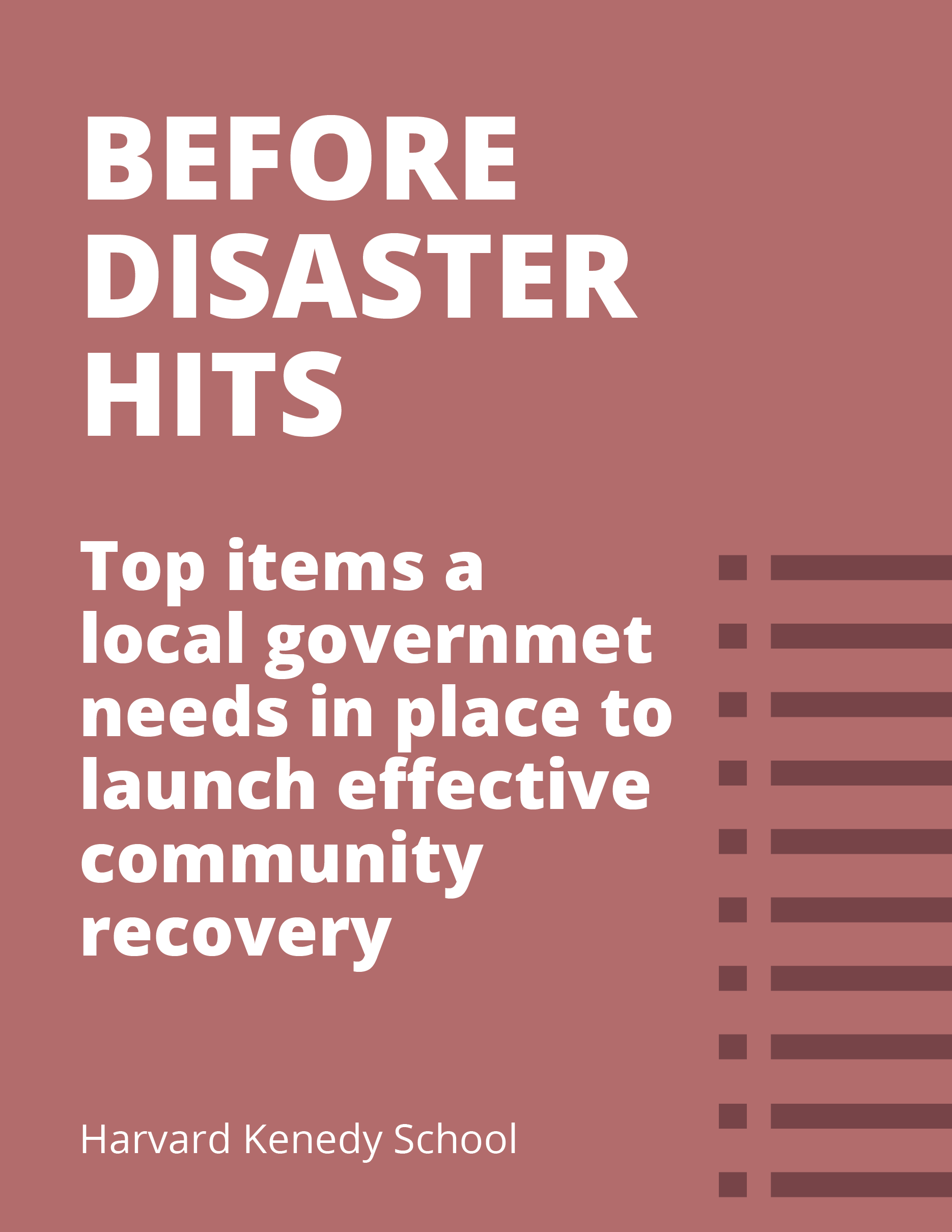 Pre-Disaster Recovery Planning Toolkit for Local Governments