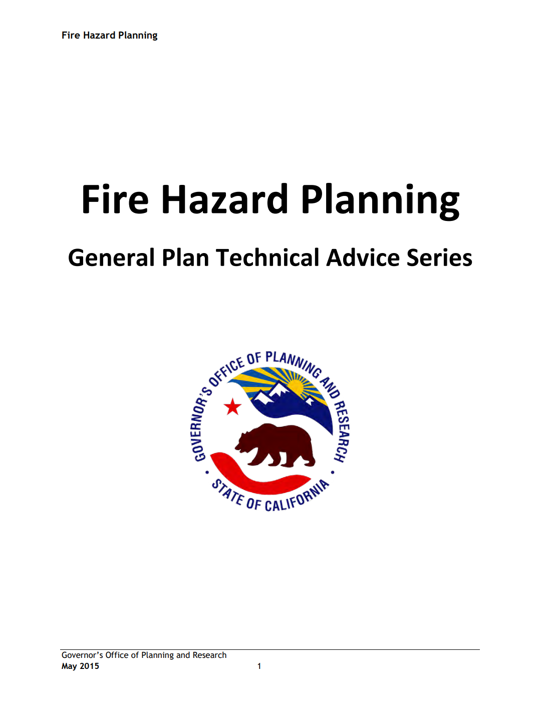 Fire Hazard Planning – General Plan Technical Advice Series Cover