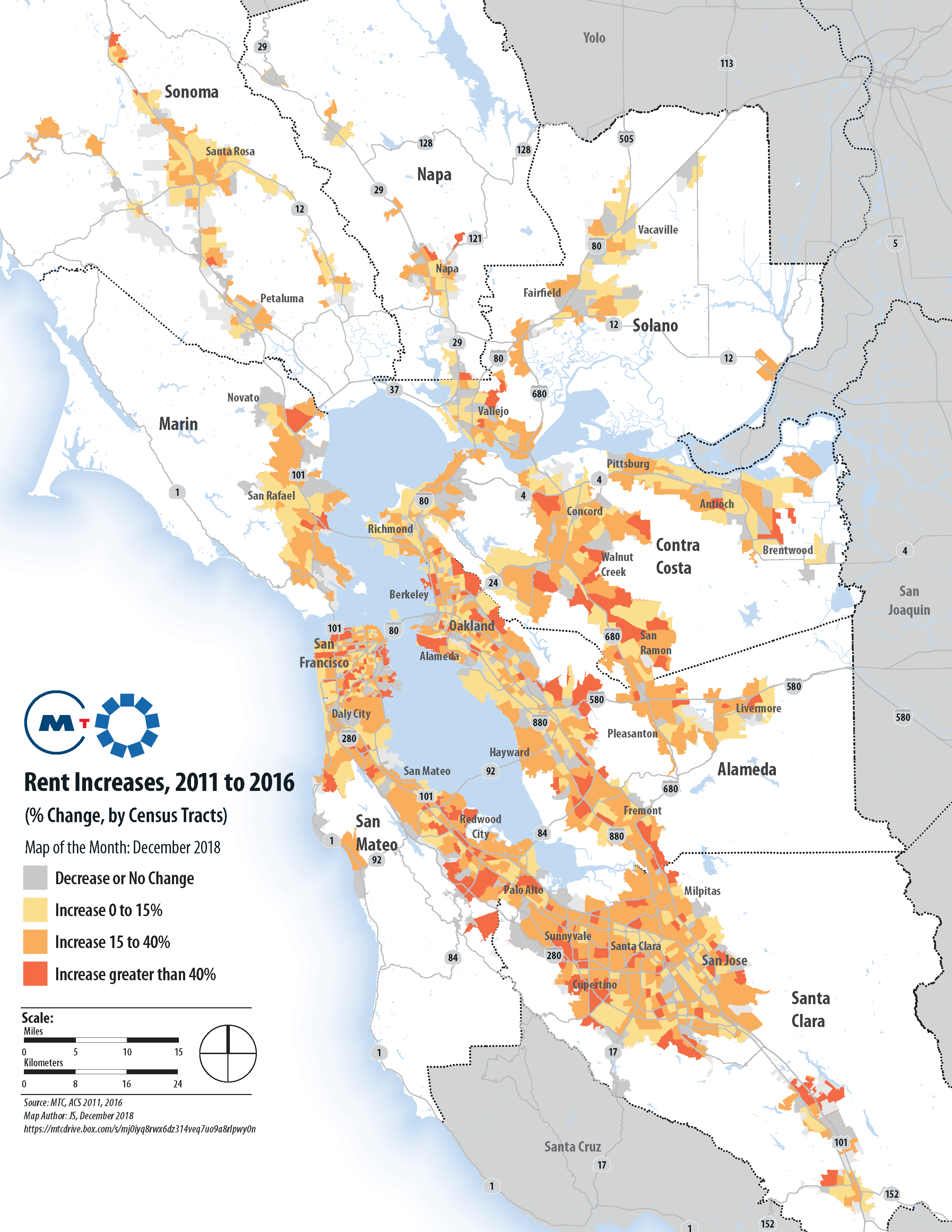 Map Of The Month Association Of Bay Area Governments In san francisco, the blue blob may stand out, but other blue dots commute as far north as cloverdale and as far south as gilroy. map of the month association of bay