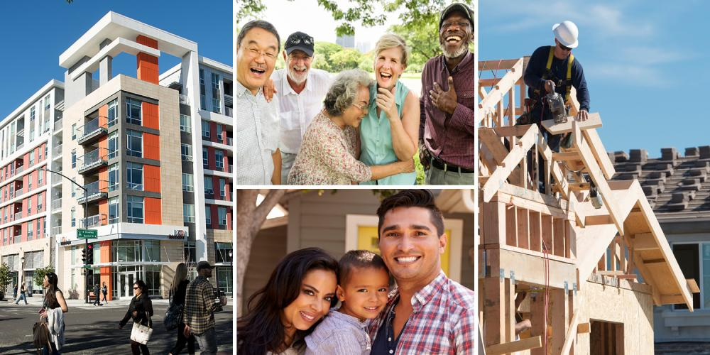 A collage of images: families, a mid-rise city apartment building, and a single-family home under construction