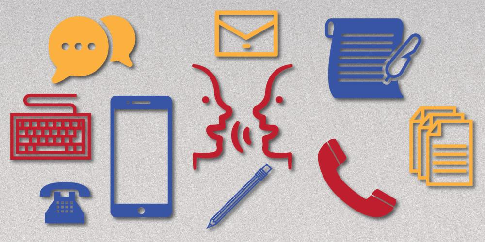 icons showing modes of communication, telephone, keyboard, people talking, texting, writing letters