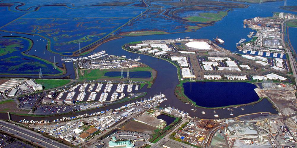 An ariel image of redwood city port