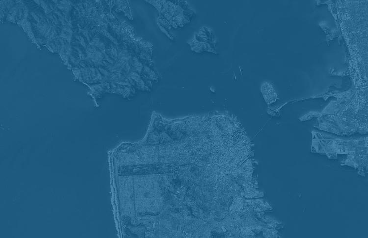 Blue-toned satellite photo of the Bay Area