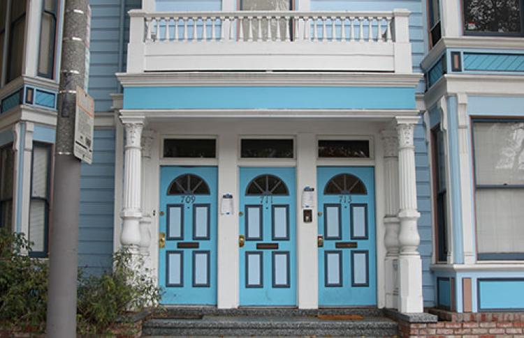 Blue doors on an Edwardian house in San Francisco, CA