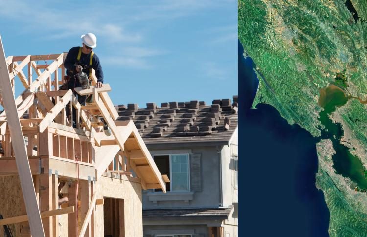 image includes two photos, one of a man wearing a hard hat sawing a wood on a roof under construction; the second part is an aerial shot of the San Francisco Bay Area